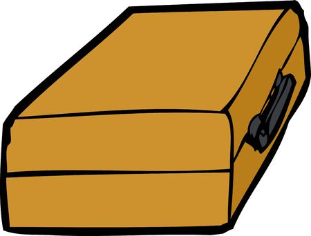shut out: Single closed suitcase cartoon icon over white background