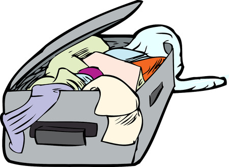 Cartoon messy open suitcase with clothing inside over white