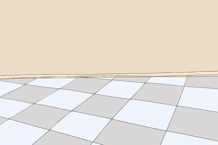 blank wall: Cartoon background of room with blank wall and checkered floor