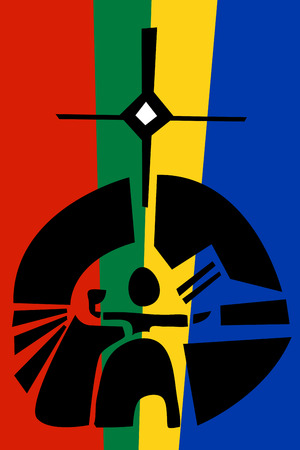saami: Icon illustration of Saami sun diety over flag colors Illustration