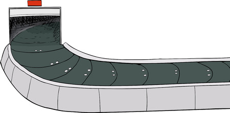 Illustration of an open isolated baggage claim conveyer belt Иллюстрация