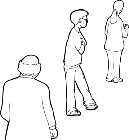 middle aged woman: Outline cartoon of three people waiting in line Illustration