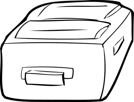 shut out: Single outlined suitcase laying flat over white Illustration