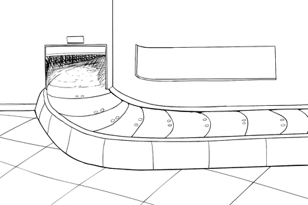 conveyer: Outlined illustration of an empty baggage claim carousel area