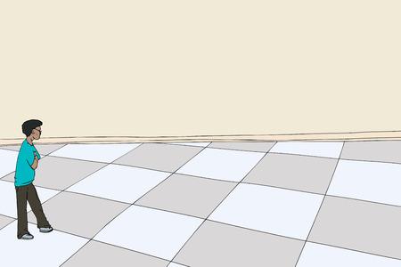 eyeglasses: Man with eyeglasses looking over checkered floor