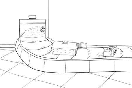 Outline of escaped cat in baggage claim area Иллюстрация