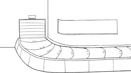 Outlined cartoon of a closed baggage claim scene