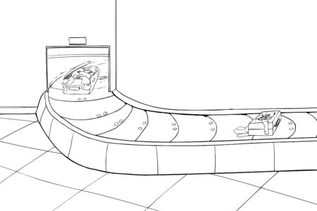 conveyer: Outline illustration of two damaged suitcases in baggage claim scene