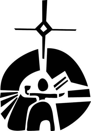saami: Black and white graphic illustration about Saami goddess Bievve Illustration