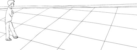 folded hand: Outline of single person looking over checkered floor Illustration