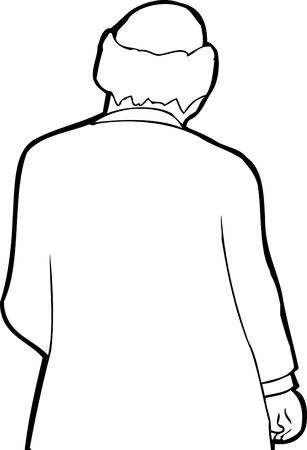 balding: Outline illustration of balding businessman over white Illustration