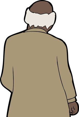 balding: Rear view cartoon of balding businessman over white