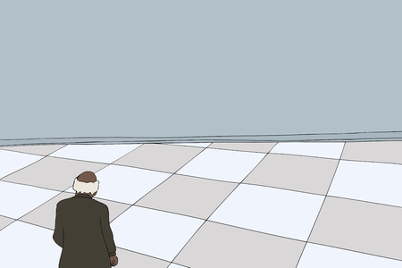 looking over: Background cartoon of balding businessman looking over floor Illustration