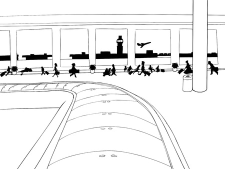 Outline of baggage carousel inside of crowded airport Иллюстрация