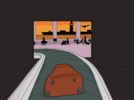 Point of view cartoon of single suitcase entering baggage claim Фото со стока - 49701412