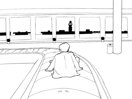 bewildered: Outline of lost man on carousel in empty airport