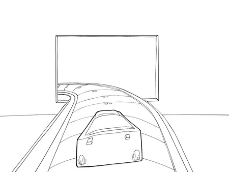 Outlined point of view drawing of luggage entering baggage claim