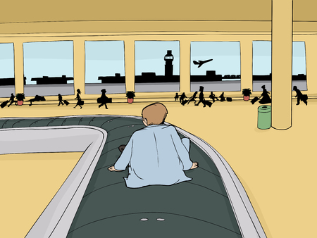Back of man sitting on baggage claim carousel inside airport