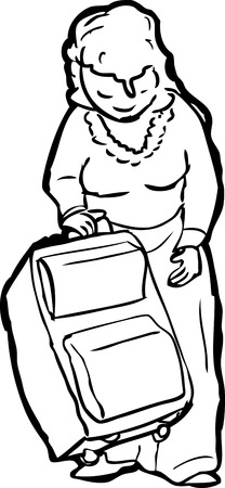 woman looking down: Outline of single woman lifting up her suitcase Illustration