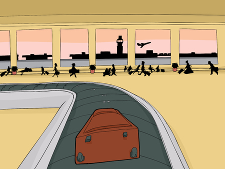 point of view: Point of view cartoon of single suitcase on baggage carousel