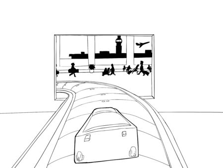 Outlined cartoon of single suitcase entering baggage claim