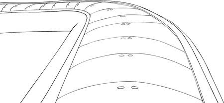 conveyor: Outlined conveyor belt illustration on white background