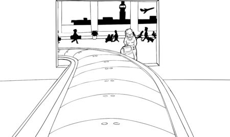 Outline of woman framed by baggage claim portal in airport Иллюстрация