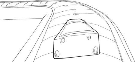 Single suitcase laying on baggage claim carousel Иллюстрация