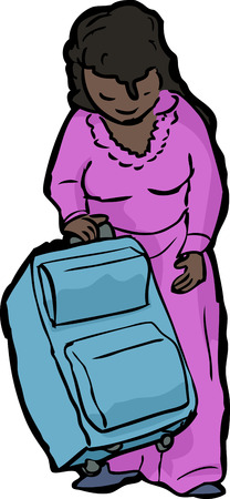 woman looking down: Cartoon of single woman standing with suitcase