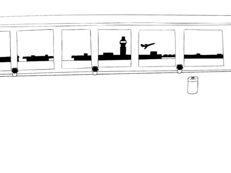 taking off: Empty airport corridor background outline with airplane taking off Illustration