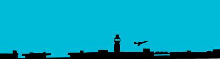 공항에서 이륙하는 비행기의 Silhoutte 배경 일러스트