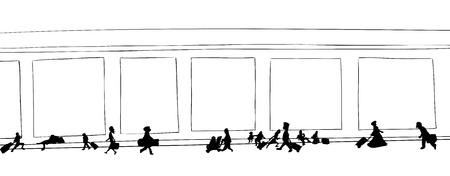hallway: Outline cartoon of travelers walking through hallway