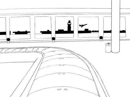 Cartoon outline of empty baggage carousel inside of airport Фото со стока - 49701557