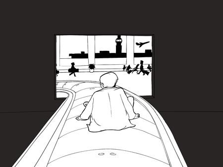 avion caricatura: esbozado hombre sentado en el carrusel como equipaje en el aeropuerto