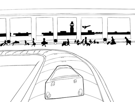 point of view: Point of view outline of single suitcase on baggage carousel
