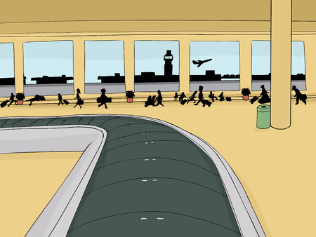 Empty baggage carousel inside of crowded airport with view outside Иллюстрация