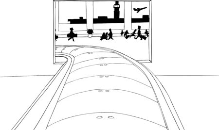 Outlined empty conveyer belt in crowded airport baggage claim