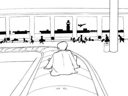 Outline of man sitting on baggage claim carousel inside airport