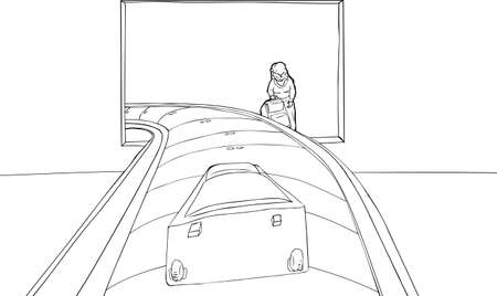 Outlined woman lifting suitcase near baggage claim carousel in airport