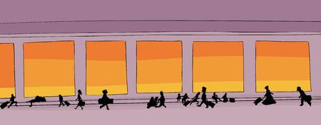 travelers: Cartoon drawing of travelers walking through hallway Illustration