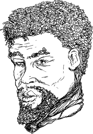 18th century: Outlined ink portrait of 18th century African man