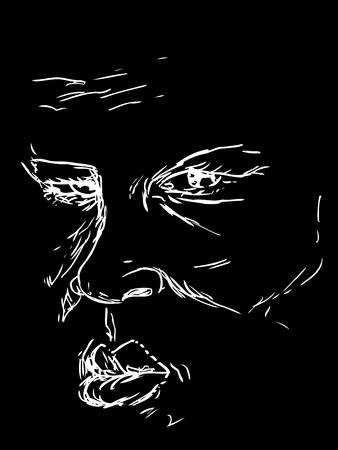 黒の上深刻な中高齢者男性の顔の描画  イラスト・ベクター素材