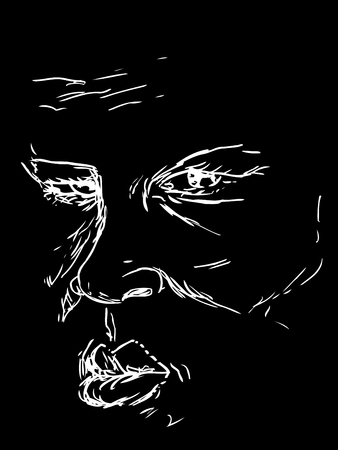 aged: Drawing of serious middle aged male face over black