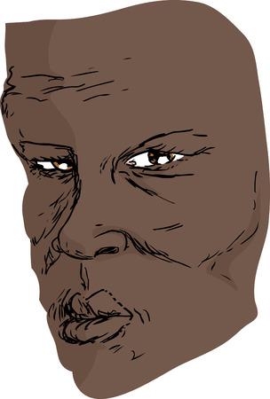 古い深刻な黒人男性のフリーハンド描画
