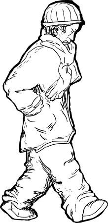cranky: Cartoon of single man in winter coat and scarf walking