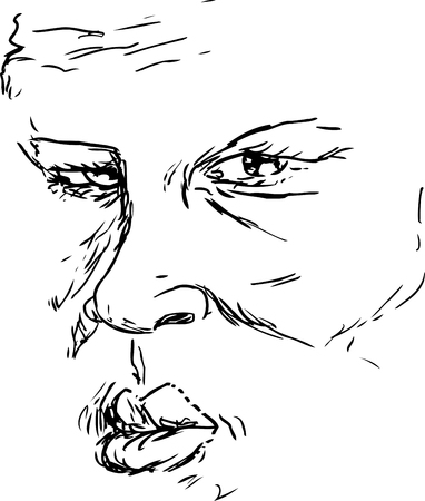 serious: OUtlined drawing of older serious Black man face Illustration