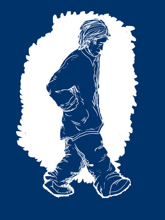 adult male: Blue color illustration of a depressed adult male walking alone