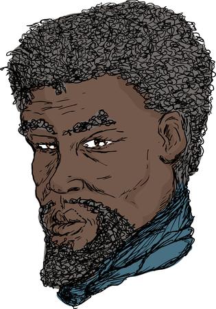 Hand drawn ink portrait of 18th century African man Ilustração