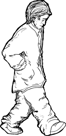 remorse: Outline of Caucasian man with hands in pockets walking alone Illustration