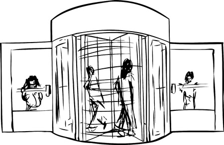 revolving: Outlined revolving door entrance with group of people